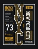 Vektor för diagram för typografiNew York City T-tröja Arkivbilder