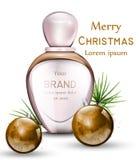Vektor för doftflaska som är realistisk med guld- vattenfärgstruntsaker Gåvadoft för glad jul Rosa färg färgar royaltyfri illustrationer