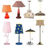 Vektor för elkraft för design för ljus för lampmöblemanguppsättning royaltyfri illustrationer