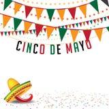 Vektor för EPS 10 för Cinco De Mayo buntingbakgrund royaltyfri illustrationer