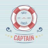 Vektor för etikett för nautisk och marin- segling för livboj themed Fotografering för Bildbyråer