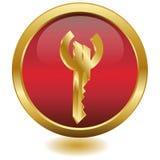 vektor för euro för knapp 3d guld- key Arkivfoton