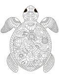 Vektor för färgläggning för havssköldpadda för vuxna människor stock illustrationer