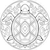 Vektor för färgläggningsköldpaddamandala Arkivbild