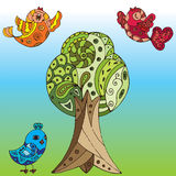 vektor för fågelillustrationtree Royaltyfria Bilder