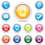 Vektor för fastställt symbol för symbolspacke mobil Royaltyfri Foto