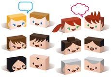 vektor för folk för avatarhuvudsymbol set stock illustrationer