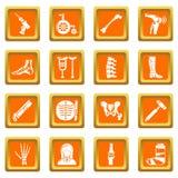 Vektor för fyrkant för apelsin för symboler för ortopedbenhjälpmedel fastställd Arkivbild