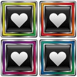 vektor för fyrkant för förälskelse för knapphjärtasymbol Stock Illustrationer