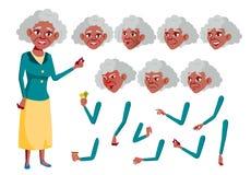 Vektor för gammal kvinna _ Afro- amerikan Hög person Åldrigt äldre folk Gyckel som är gladlynt Framsidasinnesrörelser som är olik stock illustrationer
