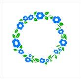 Vektor för garnering för ram för cirkel för tappningblåttblomma vektor illustrationer