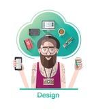 Vektor för grafisk formgivare för Hipster med text royaltyfri illustrationer