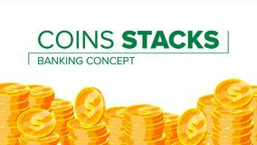 Vektor för guld- mynt framställning av pengar Begrepp för finansiell investering Finanshög, dollarmynthög Isolerat på vitlägenhet vektor illustrationer