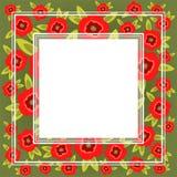 vektor för gullig blom- för blomma för konstbakgrundskant nätt vriden för ram för prydnad vallmo för modell Royaltyfri Foto