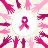 Vektor för händer för kvinnor för bröstcancermedvetenhetband  Royaltyfri Fotografi