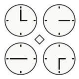 Vektor för halv symbol för quoter för timme tre för stämpelurrundaklocka enkel Arkivbild