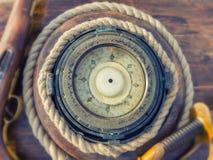 vektor för hav för kompassillustration gammal Selektivt fokusera royaltyfri fotografi