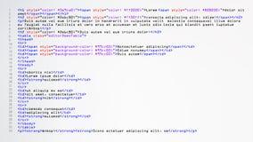 Vektor för HTML-abstrakt begreppkod Färgrika etiketter i webbläsaresikt Progamming källkod för enhet Abstrakt datorskrift Fotografering för Bildbyråer