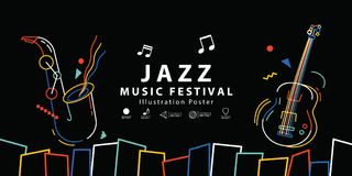 Vektor för illustration för affisch för baner för jazzmusikfestival Backgroun vektor illustrationer