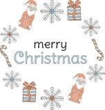vektor för illustration för banerjul eps10 Santa Clauses snöflingor, gåvor, godisrottingar runt om inskriften på en vit bakgrund royaltyfri illustrationer