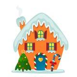 vektor för illustration för banerkorthälsning Fantastiska och gulliga jultomten hus i snön med en julgran och en karamell peppark stock illustrationer
