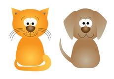 vektor för illustration för katthund rolig royaltyfri illustrationer