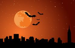 Vektor för illustration för horisont för måne för allhelgonaaftonferiebakgrund royaltyfri fotografi