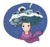 vektor för illustrationdrottningsnow Flickan med en intressant frisyr Abstrakt fantasibakgrunder med den magiska boken vinter för stock illustrationer