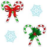 Vektor för jul för för godisrotting och snöflinga sömlös Royaltyfria Bilder