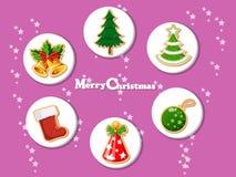 Vektor för julgåvasymbol, lyckligt nytt år och garnering Royaltyfri Foto