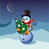 vektor för julsnowmantree royaltyfri illustrationer