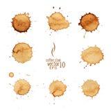 Vektor för kaffefläckvattenfärg Royaltyfria Foton