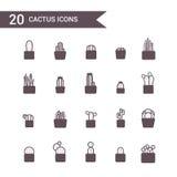 Vektor för kaktussymbolsuppsättning Kontursymboler Fotografering för Bildbyråer