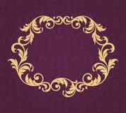 Vektor för kalligrafi för bakgrund för tappninggränsram guld- Arkivbild