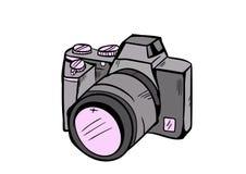 Vektor för kameraklottersymbol med vit bakgrund Royaltyfria Foton