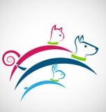 Vektor för katthund- och kaninlogo royaltyfri illustrationer