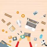 Vektor för klocka för handskrivbordbärbar dator video strömmande royaltyfri illustrationer