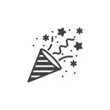 Vektor för konfettipopcornapparatsymbol, fyllt plant tecken, fast pictogram I stock illustrationer