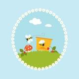 Vektor för konst för frukter för tecknad filmblommabikupa trädgårds- stock illustrationer