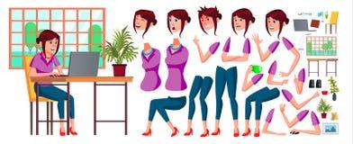 Vektor för kontorsarbetare Kvinna Lycklig kontorist, tjänare, anställd Affärsmänniska Framsidasinnesrörelser, olika gester djur stock illustrationer