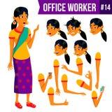 Vektor för kontorsarbetare Kvinna Yrkesmässig tjänsteman, kontorist Affärsman Female Dam Face Emotions, olika gester Royaltyfria Foton