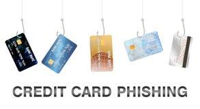 Vektor för kreditkort för verklig fiskekrok phishing Royaltyfria Foton