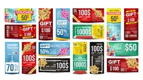 Vektor för kuponggåvadesign Fastställda horisontalvertikala gåvabaner För att shoppa kort, rabattkupong marknadsföring royaltyfri illustrationer