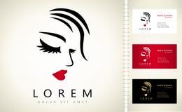 Vektor för kvinnaframsida- och hårlogo stock illustrationer