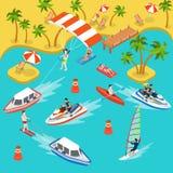Vektor för lägenhet 3d för bränning för hav för semester för loppstrandsemesterort isometrisk stock illustrationer