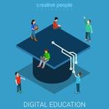 Vektor för lägenhet 3d för Digital utbildningsuniversitet isometrisk Royaltyfri Foto