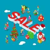 Vektor för lägenhet 3d för familj för julförsäljning ferie isometrisk dekorerad vektor illustrationer