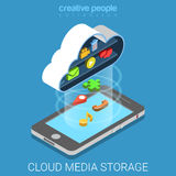 Vektor för lägenhet 3d för telefon för lagring för molnmassmediadata reserv- isometrisk Royaltyfri Foto