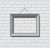 Vektor för lägenhet för bildram Fotoram på tegelstenväggen Måla ramen Stock Illustrationer