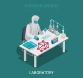 Vektor för lägenhet för kemikalie för forskning för experiment för vetenskapslabb isometrisk royaltyfri illustrationer